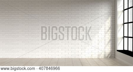 Minimal Living Room Scene Interior Design With White Brick Wall. 3d Render