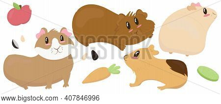 Set Of Cute Guinea Pigs - Beige, Brown, Ginger, Smooth-haired And Shaggy, Cute Pet Rodent, Vector Il