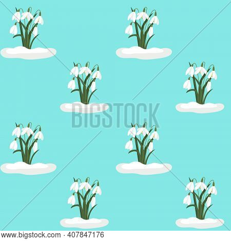 Seamless Background With Snowdrops. Vector Repeating Pattern With White Flowers On A Blue Background
