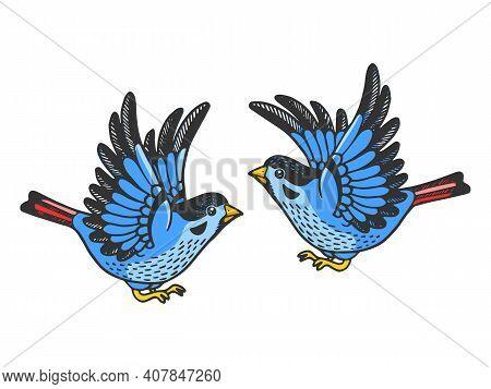 Sparrow Birds Tattoo Color Sketch Engraving Vector Illustration. Scratch Board Style Imitation. Hand
