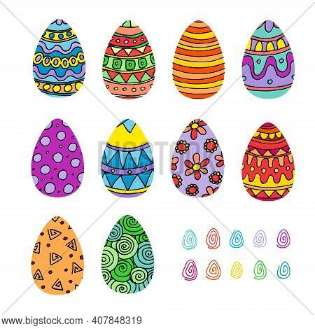A Set Of Bright Colorful Painted Easter Eggs. Vector Illustration In Cartoon Style.