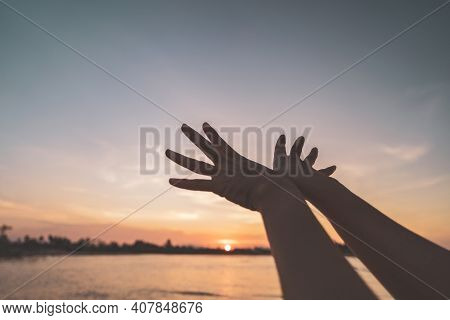 Woman Raise Hand Up Like Bird Shape At Tropical Sunset Beach Abstract Background. Freedom Feel Good