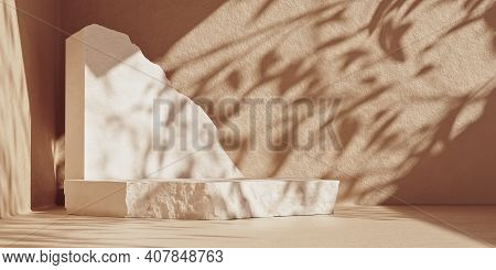 3d Podium Display On Beige Background Wall With Stone Slabs And Copy Space. Cosmetic Beauty Product