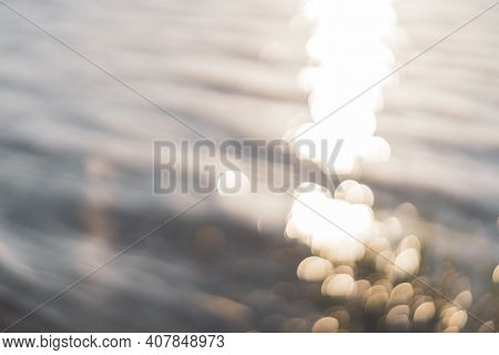 Copy Space Of Sunset Bokeh On Wave Beach Abstract Background. Vintage Tone Filter Effect Color Style