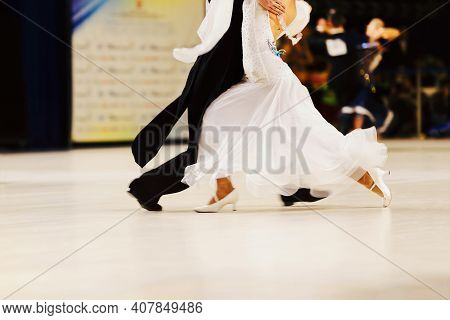 Couple Dancers Man In Black Tailcoat And Woman In White Ball Gown