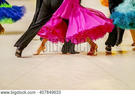 Multicolored Ball Gowns For Women Dancers In Sport Dance Competition