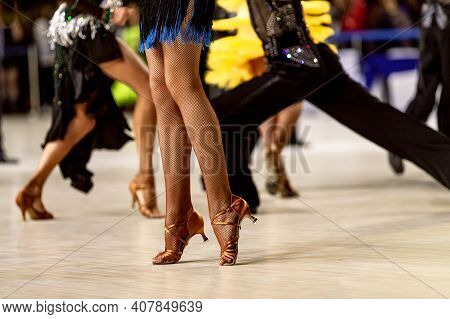 Legs Female Dancer In Fishnet Stockings Dance Sports Competition