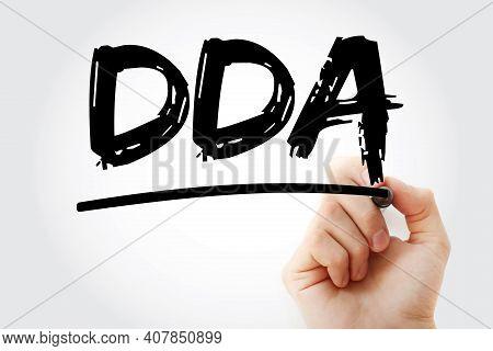 Dda - Depletion Depreciation Amortization Acronym With Marker, Business Concept Background