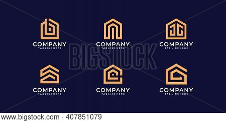Set Of Real Estate Building Monogram Logo Design Template. Logo Can Be Used For Icon, Brand, Identit