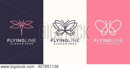 Fly Monogram Animal Logo Design Template Inspiration. Logo Can Be Used For Spa, Decorative, Icon, An