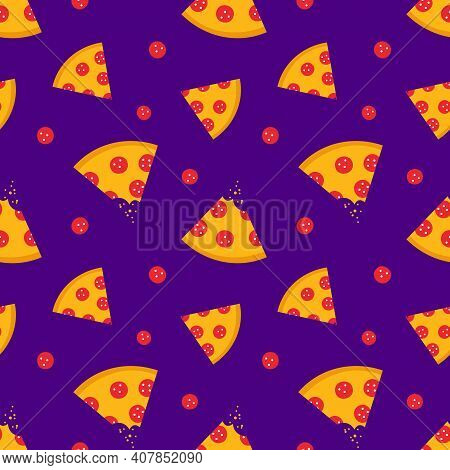 Pepperoni Pizza Slices Cartoon Style Vector Seamless Pattern Background.