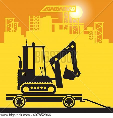 Digger, Small Excavator Work On Construction Site, Vector Illustration