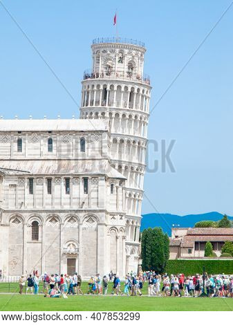 Pisa, Italy - July 02, 2018: Leaning Tower Of Pisa O Cathedral Square In Pisa, Tuscany, Italy.
