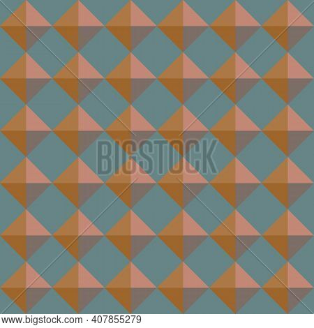 Vector 3d Pyramid Shaped Stud Seamless Pattern Background. Warm Brown Shaded Studded Diamond Triangl
