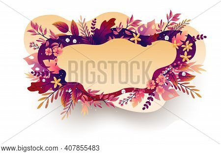 Seasonal Autumn Hand Drawn Frame Vector Background.fall Decorative Border With Dried Leaves, Acorns,