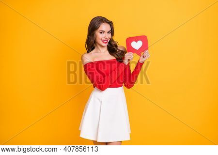 Photo Portrait Of Girl Wearing Skirt Off-shoulders Top Showing Good Feedback Popular Media Isolated
