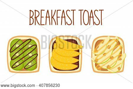 Set Of Toasts For Breakfast With Different Fillings. Toasts With Kiwi, Mango And Cococnut Flakes, Pe