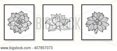 Lotus Line Art Hand Draw Black Lotus Flower. Cover, Banner, Wall Art, Black Geometric Pattern Design