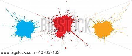 Beautiful Grunge Blots, Splats. Paint Splash. Vector Illustration.
