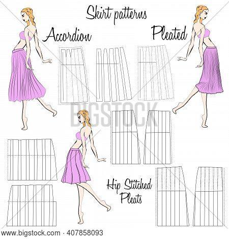 Skirt Accordion, Pleated And Hip Stitched Pleats Patterns. A Visual Representation Of Styles Of The