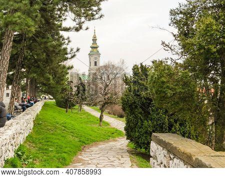 Belgrade, Serbia - March 06, 2013: View Of The Old City Center Of Belgrade From Kalemegdan Park. Bel