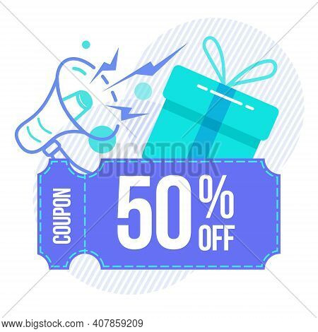 Discount, Sale Coupon 50. The Concept Of A Coupon, A Gift With A Gramophone. Element For Banner, Fly