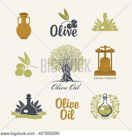 Set Of Logos, Icons, Labels, Stickers Or Badges For Olives And Olive Oil. Collection Of Simple Vecto