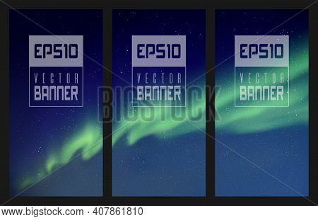 Northern Lights. Green Aurora Borealis. Abstract Vector Banner Set