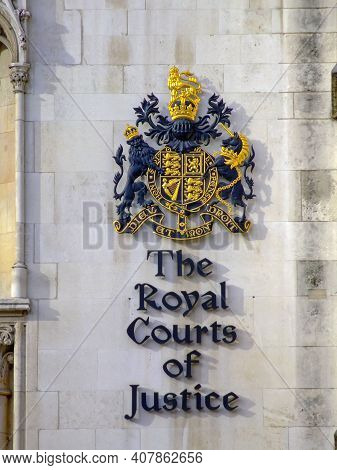 London, United Kingdom - March 08, 2007: The Royal Court Of Justice Sign In London, Uk.