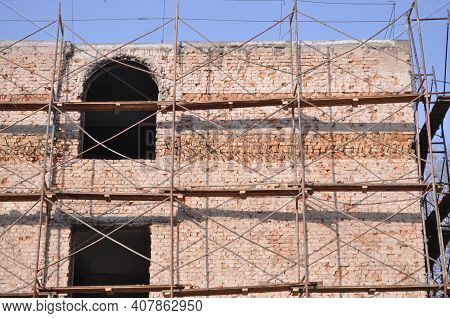 Restoration Of The Brick Building. Repair Of The School Building. Repair Of The School On Arbat In A