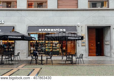 Turin, Italy - February, 2021: Starbucks Coffeehouse Location In Turin, Piedmont, Italy. The World's