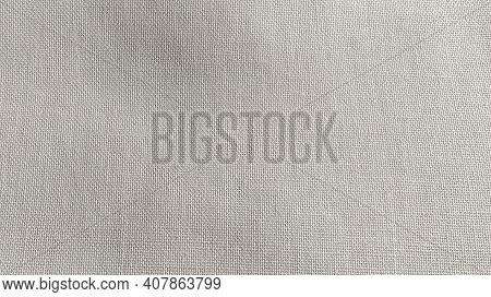 White Fabric Close-up. Cotton Linen Weave. Close-up.