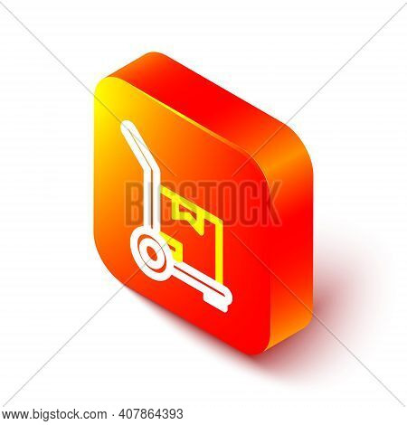 Isometric Line Hand Truck And Boxes Icon Isolated On White Background. Dolly Symbol. Orange Square B