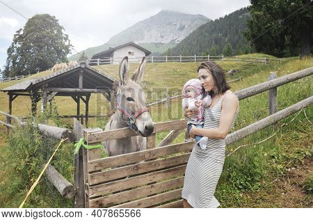 Mom With Her Daughter Having Fun At Farm Ranch And Meeting A Donkey - Pet Therapy Concept In Country