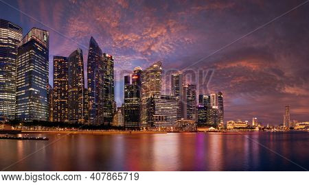 Singapore, Singapore - FEBRUARY 14, 2020: View at Singapore City Skyline at night