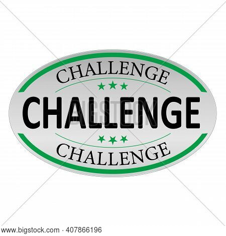 Challenge Blue Button Sign. Challenge Rounded Blue Sticker. White Peeler