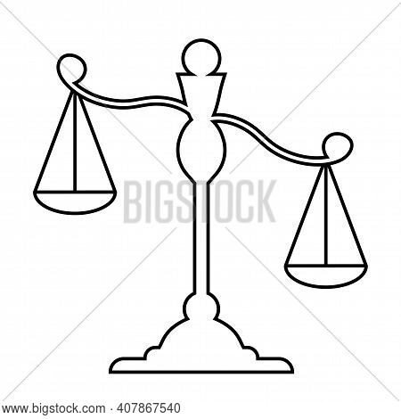 Libra. Scales Linear Silhouette. Scales Icon. Isolated Element On A White Background. Balance, Law A