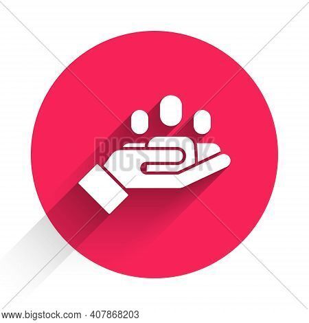 White Hand For Search A People Icon Isolated With Long Shadow. Recruitment Or Selection Concept. Sea