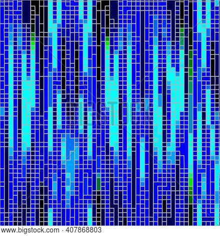 Irregular Mosaic In Different Shades Of Blue Collor. Pixelated Abstract Background, Asymmetric Shatt