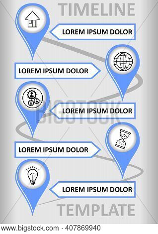 Modern Infographic Timeline Template With Place Markers On The Wavy Path, Text Boxes For Custom Capt
