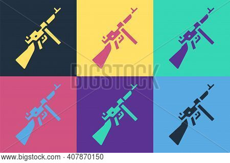 Pop Art Thompson Tommy Submachine Gun Icon Isolated On Color Background. American Submachine Gun. Ve