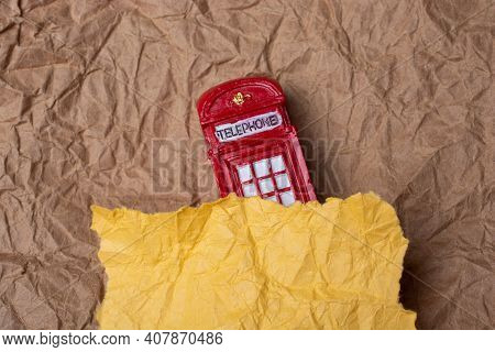 Classical British Style Red Phone Booth Of London