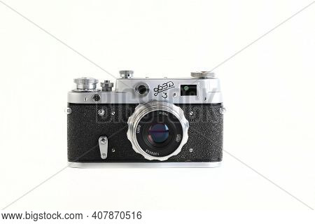 Moscow, Russia, February 12, 2021. The Very Rare Old Soviet 35 Mm Film Rangefinder Camera Fed-3, Rel
