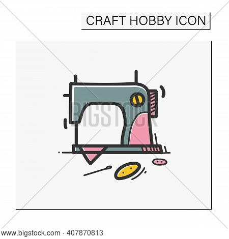 Sewing Hand Draw Color Icon.vintage Sewing Machine.handmade Fashion Activity. Relaxed Hobby Concept.