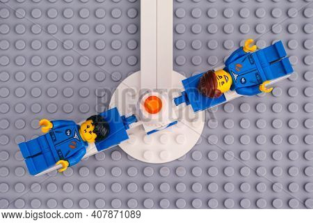 Tambov, Russian Federation - April 30, 2020 Lego Spinning G-force Astronaut Training Machine With Tw