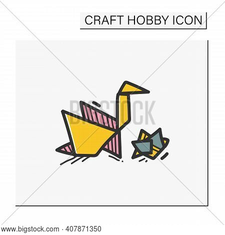 Origami Hand Draw Color Icon. Handmade Paper Japanese Bird. Aesthetic Art Of Paper Folding. Homemade