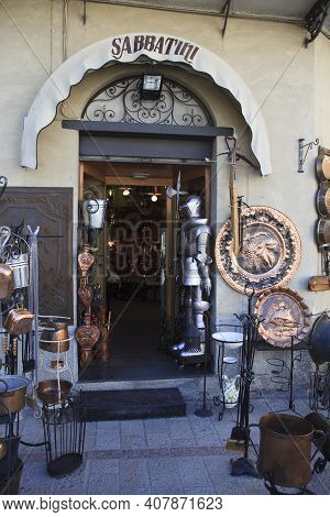 Norcia (pg), Italy - May 25, 2015: Typical Shop In Norcia, Umbria, Italy, Europe