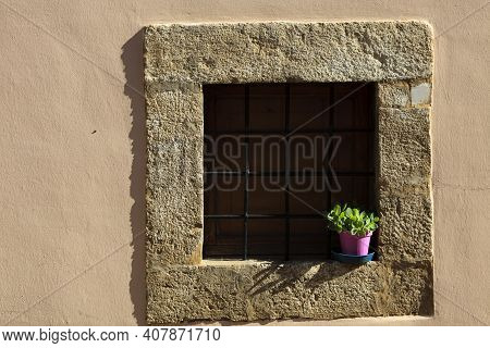 Norcia (pg), Italy - May 25, 2015: Typical Stone Window In Norcia, Umbria, Italy, Europe
