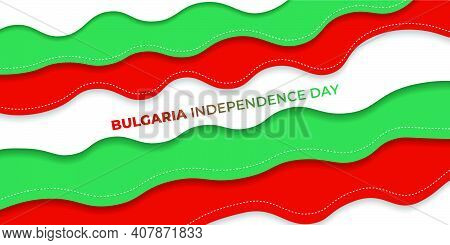Red Green Paper Cut Background Design. Bulgaria Flag Color Background. Good Template For Bulgaria In