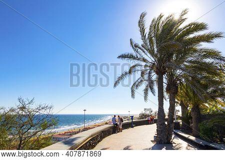 Gran Canaria Island, Spain - December 11, 2018: Maspalomas Beach Promenade (playa De Maspalomas) On